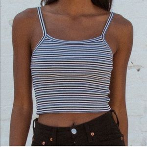 Stripped Crop Tank Top - Brandy Melville